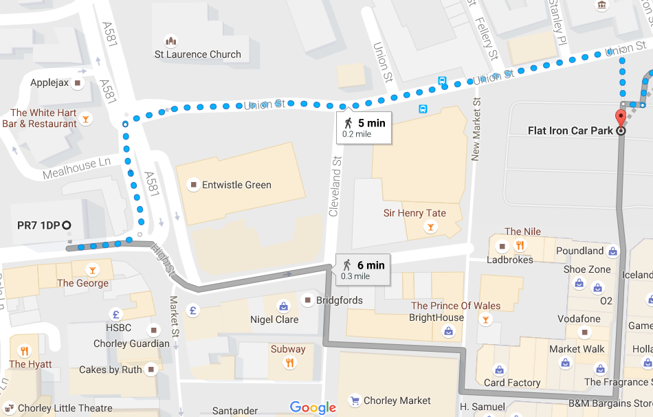 map of flat iron car park to Town Hall