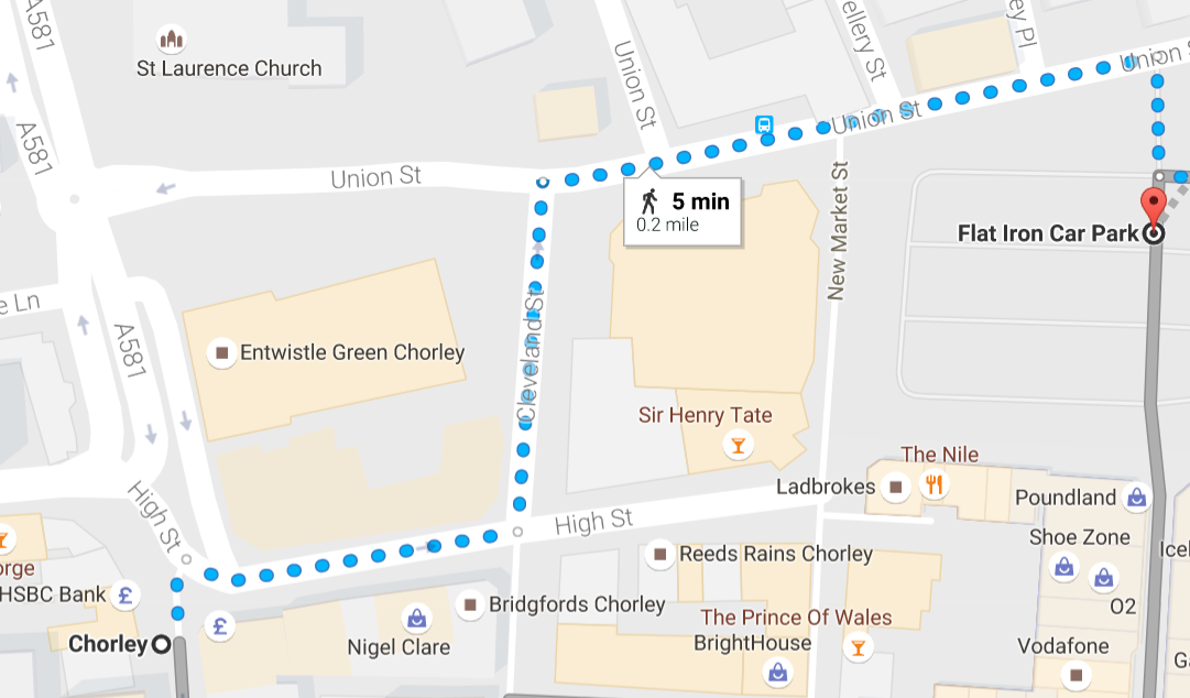 flat iron car park to chorley town hall map