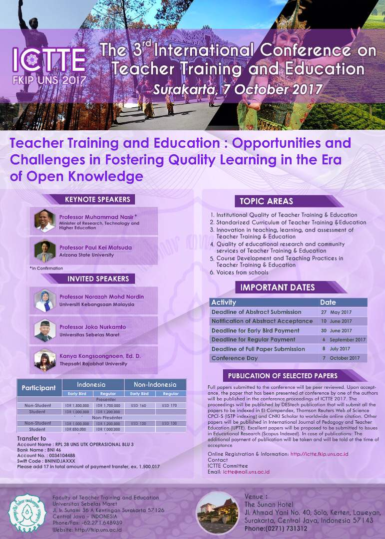 International Conference on Teacher Training and Education