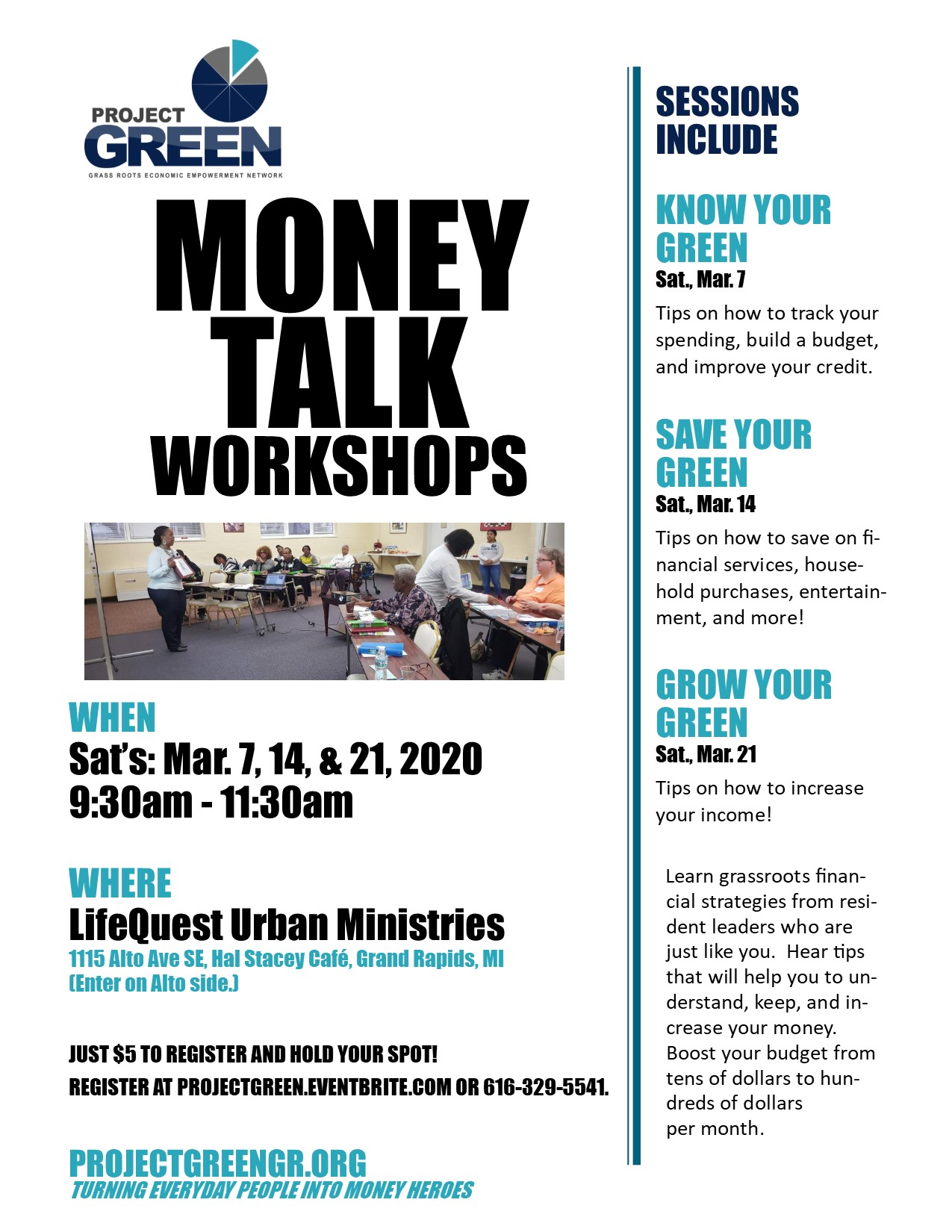 Project GREEN Money Talk Workshop Flyer for March 7, 14, & 21, 2020