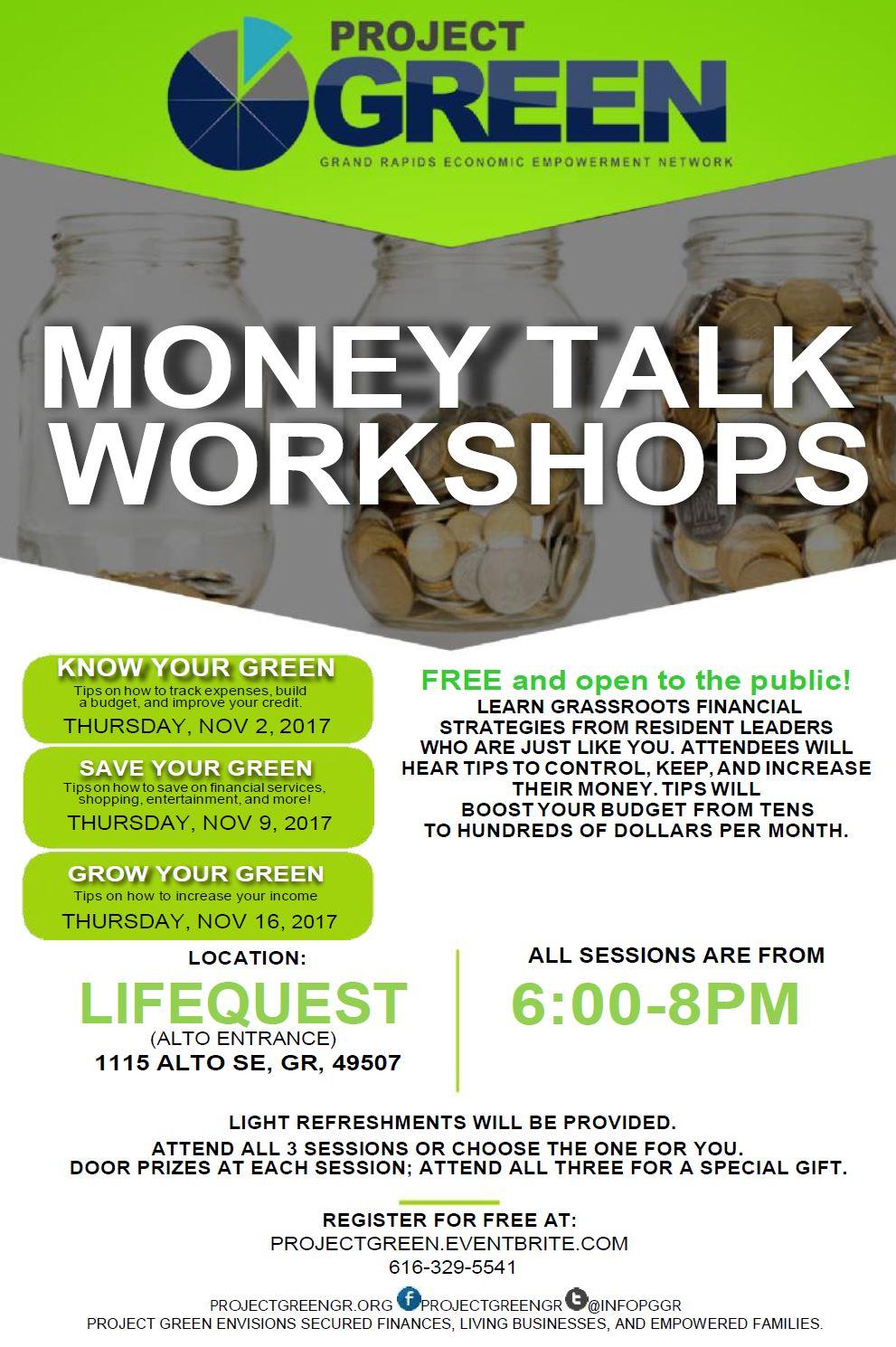 Project GREEN Money Talk Workshop - Fall Series