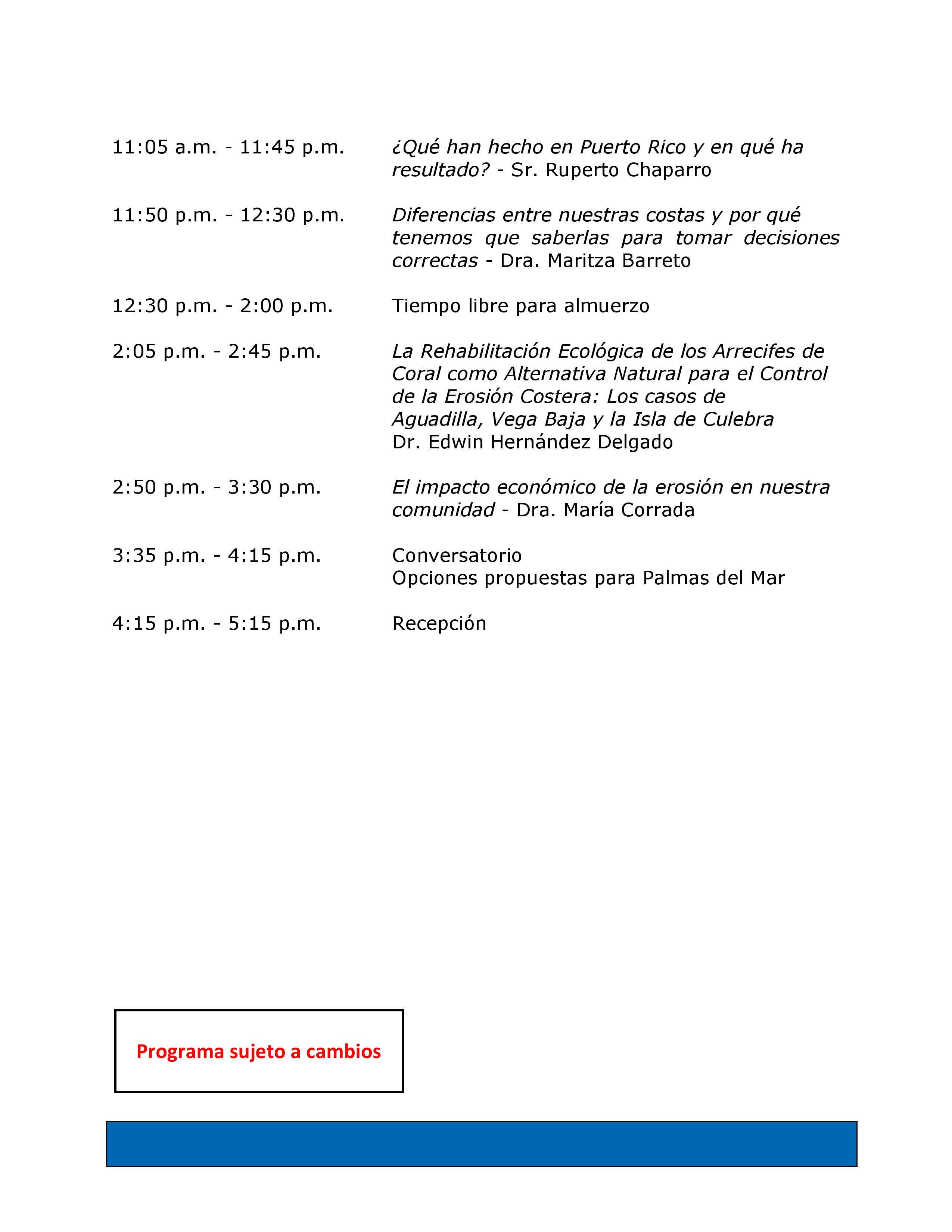 Programa de Conferencias 20 & 21 de enero de 2017