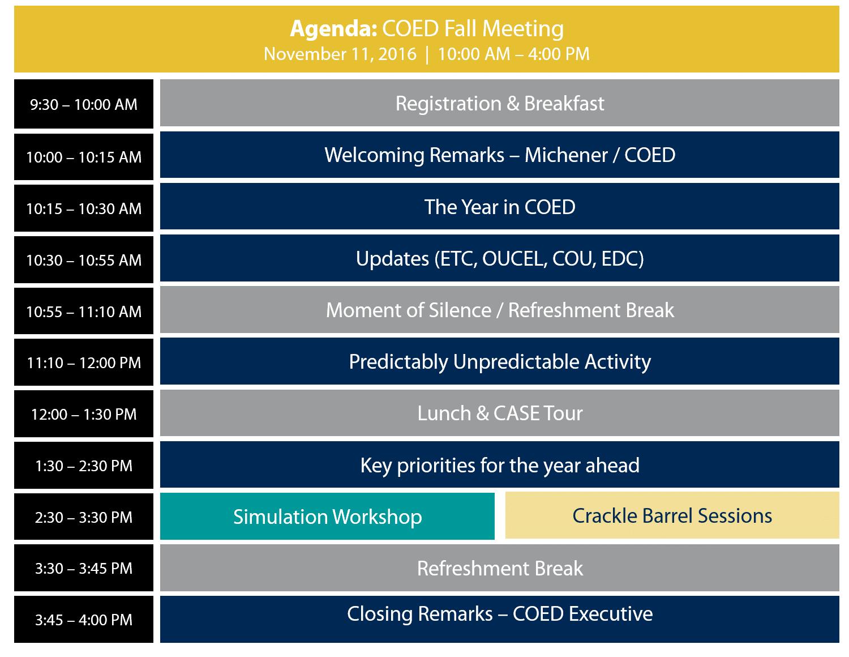 COED Fall Meeting Agenda