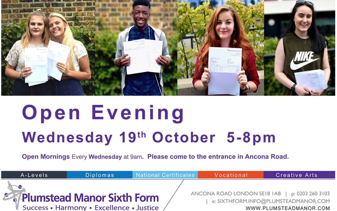 Plumstead Manor sixth form open evening Advert