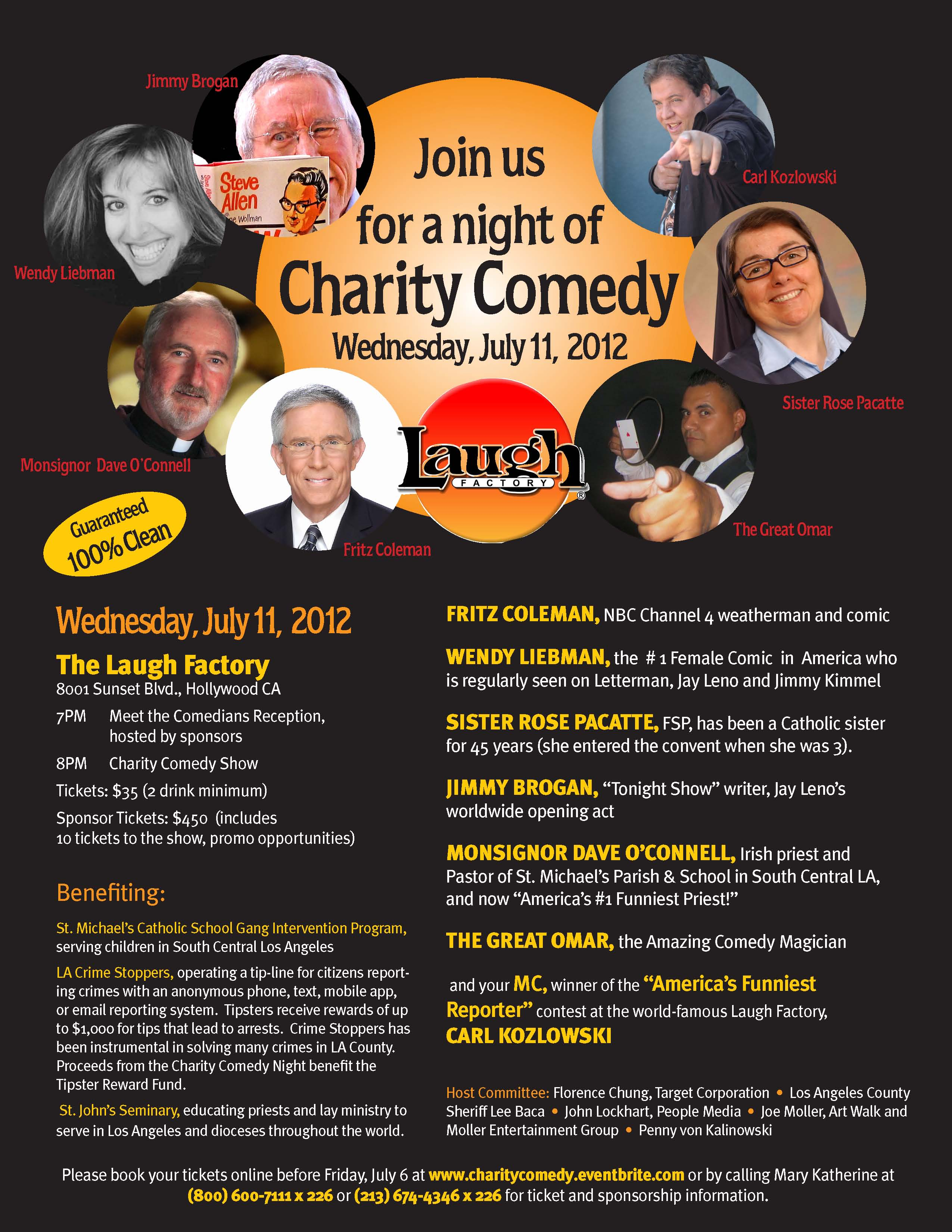 Charity Comedy Night at Laugh Factory 7 11 12