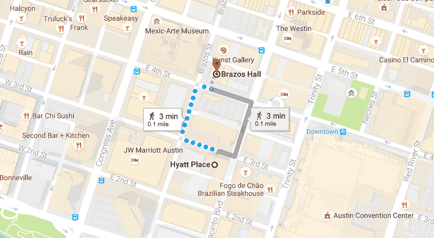 Hyatt Hotel to Brazos Hall map