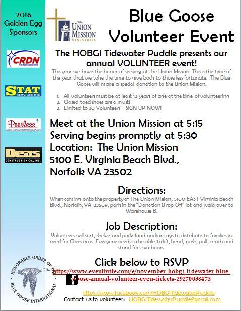 November Blue Goose Union Mission Volunteer Event