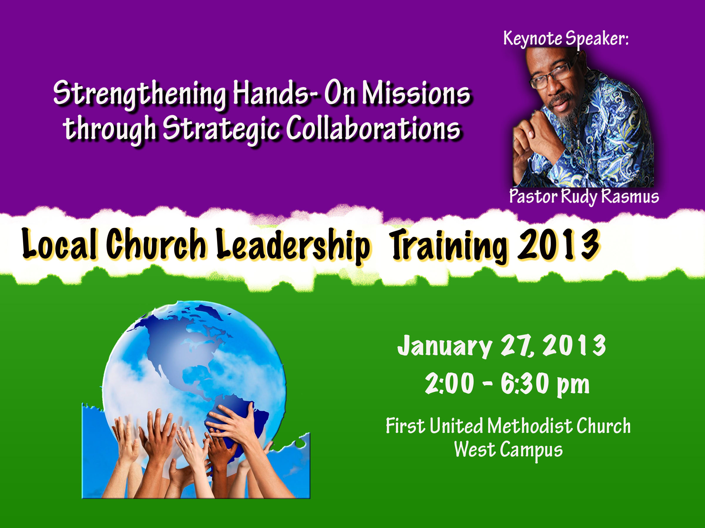 Informational graphic for Leadership Event featuring Pastor Rudy Rasmus,  January 17, 2013