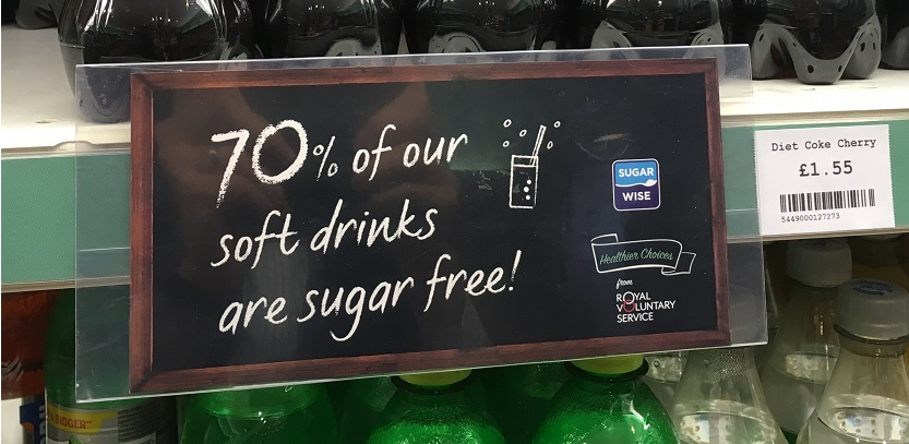 soft drinks with sugarwise sign