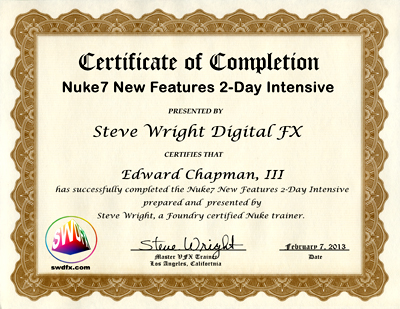 certificate of completion for Nuke 7 workshop