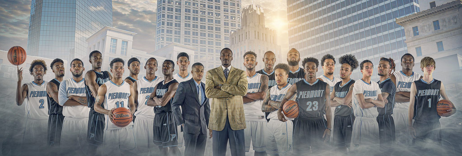 Photo of Piedmont International University's Mens Basketball Team and Coach Josh Howard
