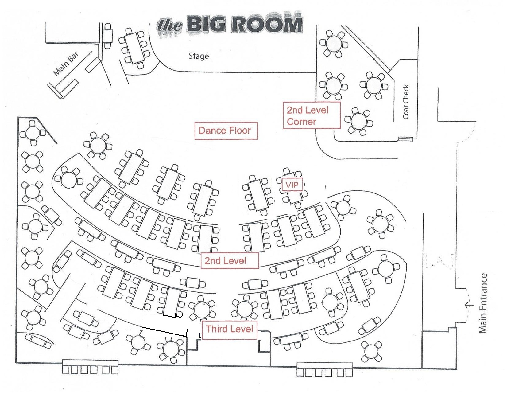 Sierra Nevada Big Room 2018 Durham Gala Seating Chart, updated 1-8-2018
