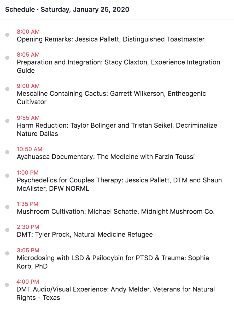 Consciousness & Psychedelics Conference Agenda