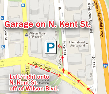 Map of Rosslyn showing entrance to parking garage on N. Kent St.