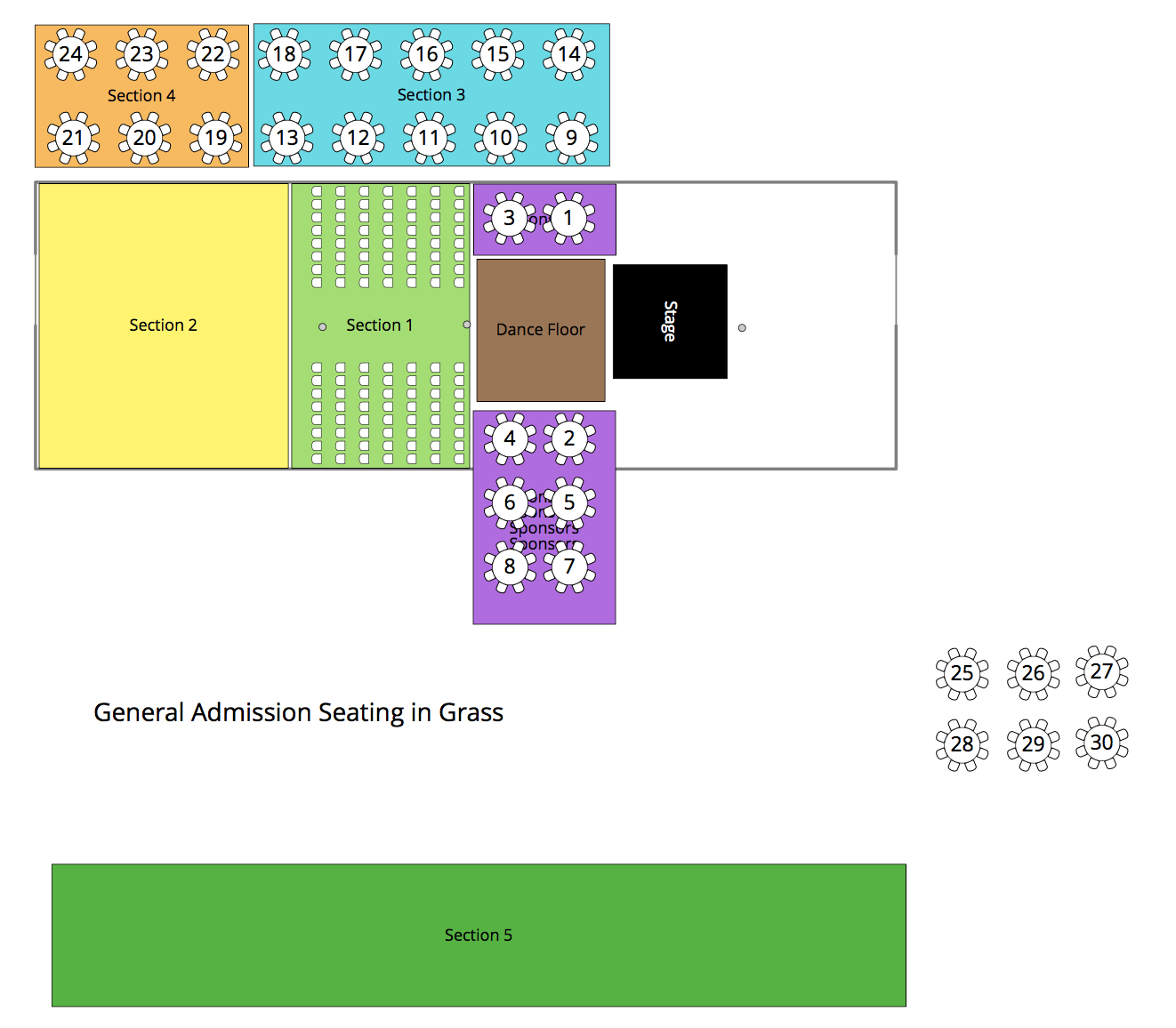 Seating by section