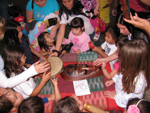 Families learn about musical instruments from around the world