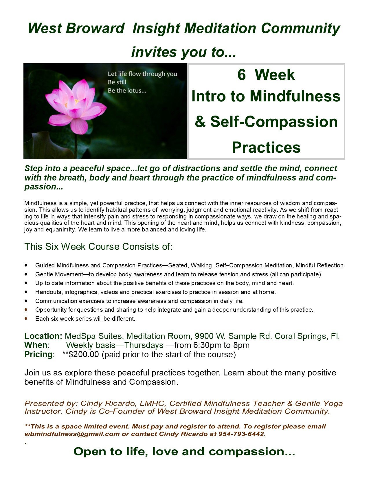 6 Week Intro to Mindfulness and Compassion Practices