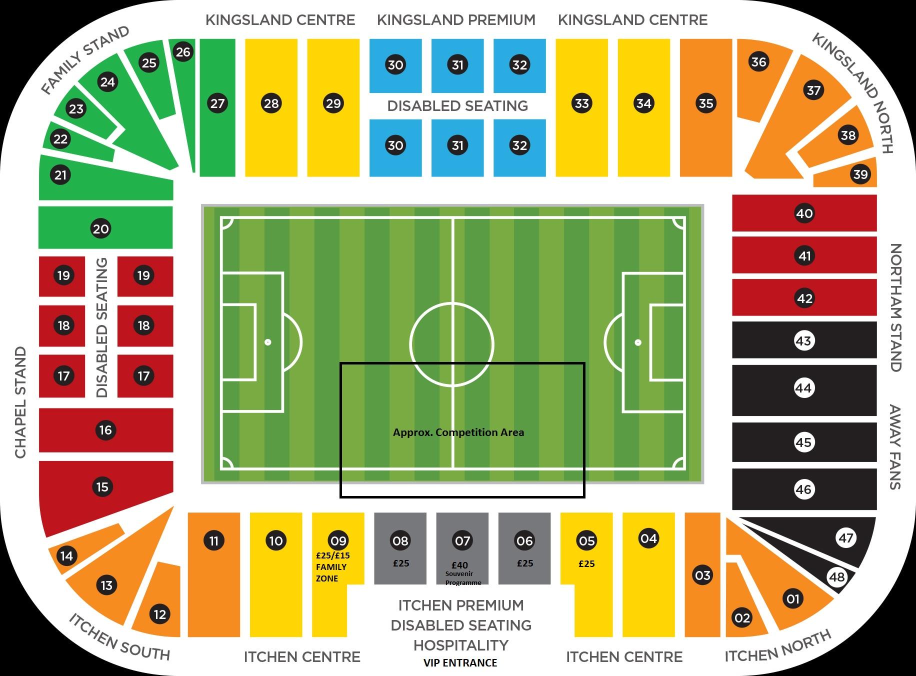 St Mary's Stadium Seating Block Plan