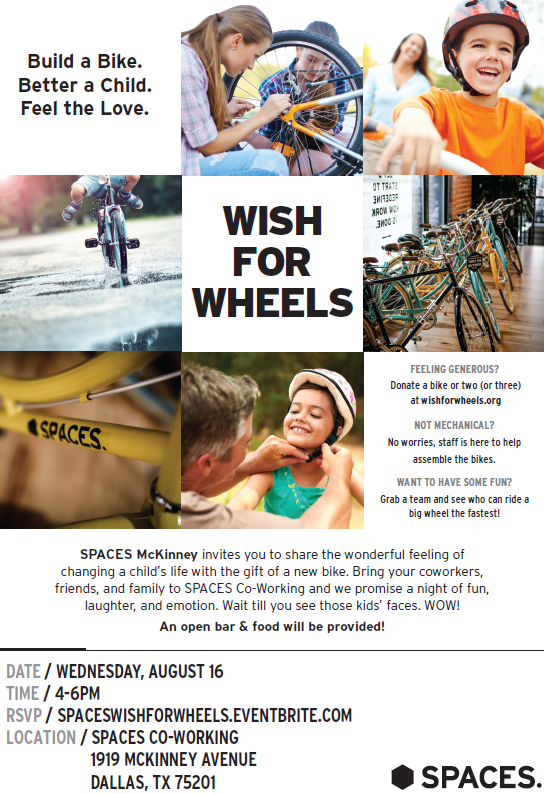 SPACES Dallas Wish For Wheels Bike Charity Event