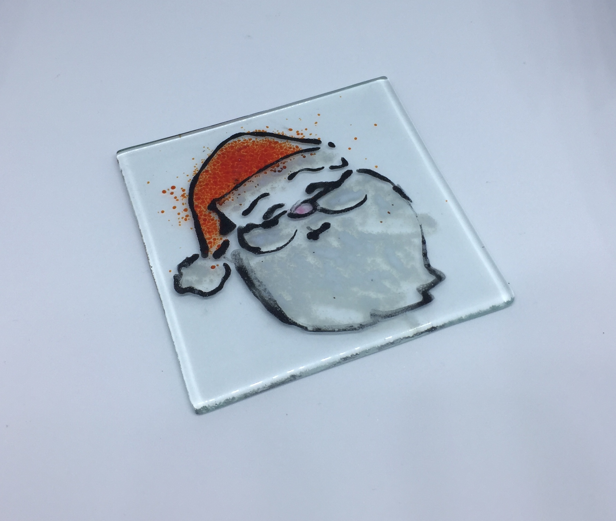 Glass coaster with Father Christmas image
