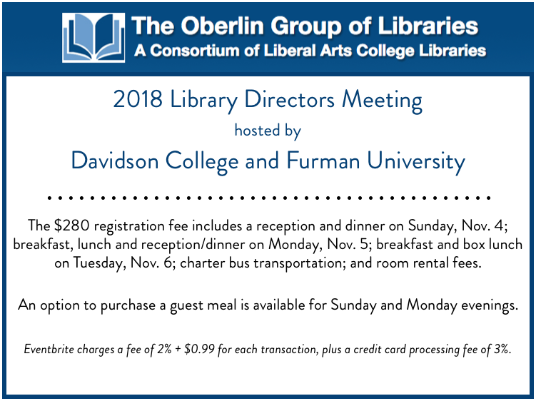 2018 Oberlin Group of Libraries Meeting