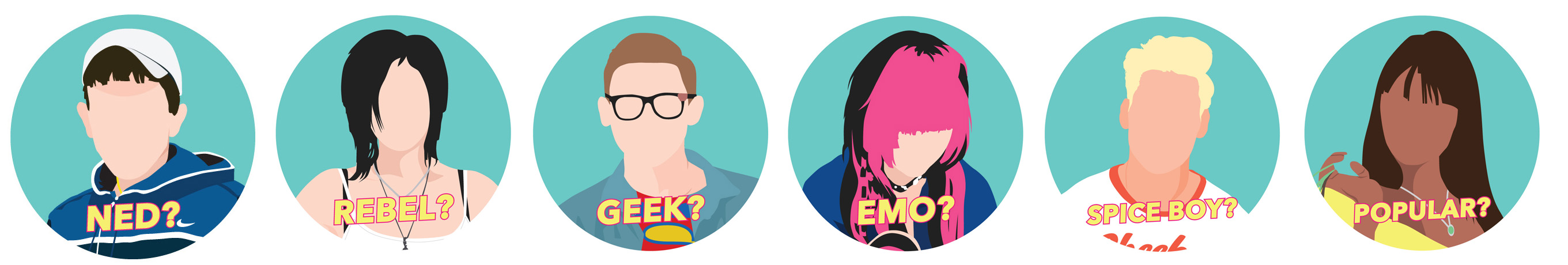 Cartoon pictures of 6 stereotypes: Ned, Vegan Activist, Spice Boy, Popular Girl, Geek and Emo.