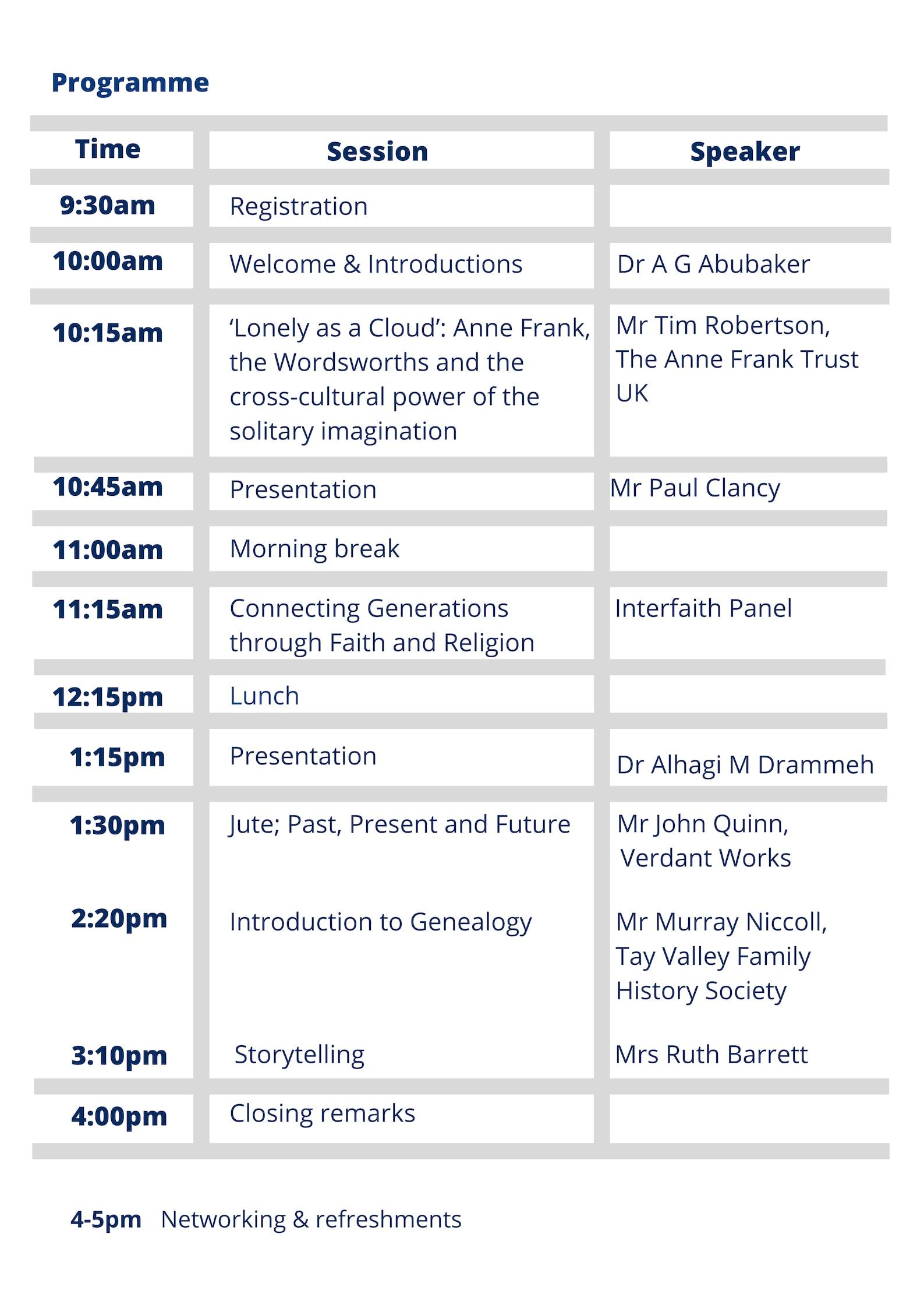 Programme Timetable