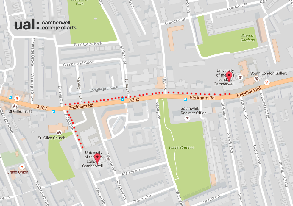 Map detailing how to get from Camberwell College of Arts Peckham Road Campus to Wilson Road Campus