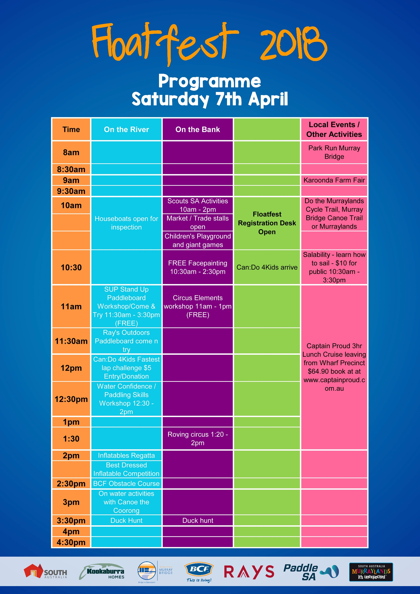 Floatfest 2018 Saturday Programme