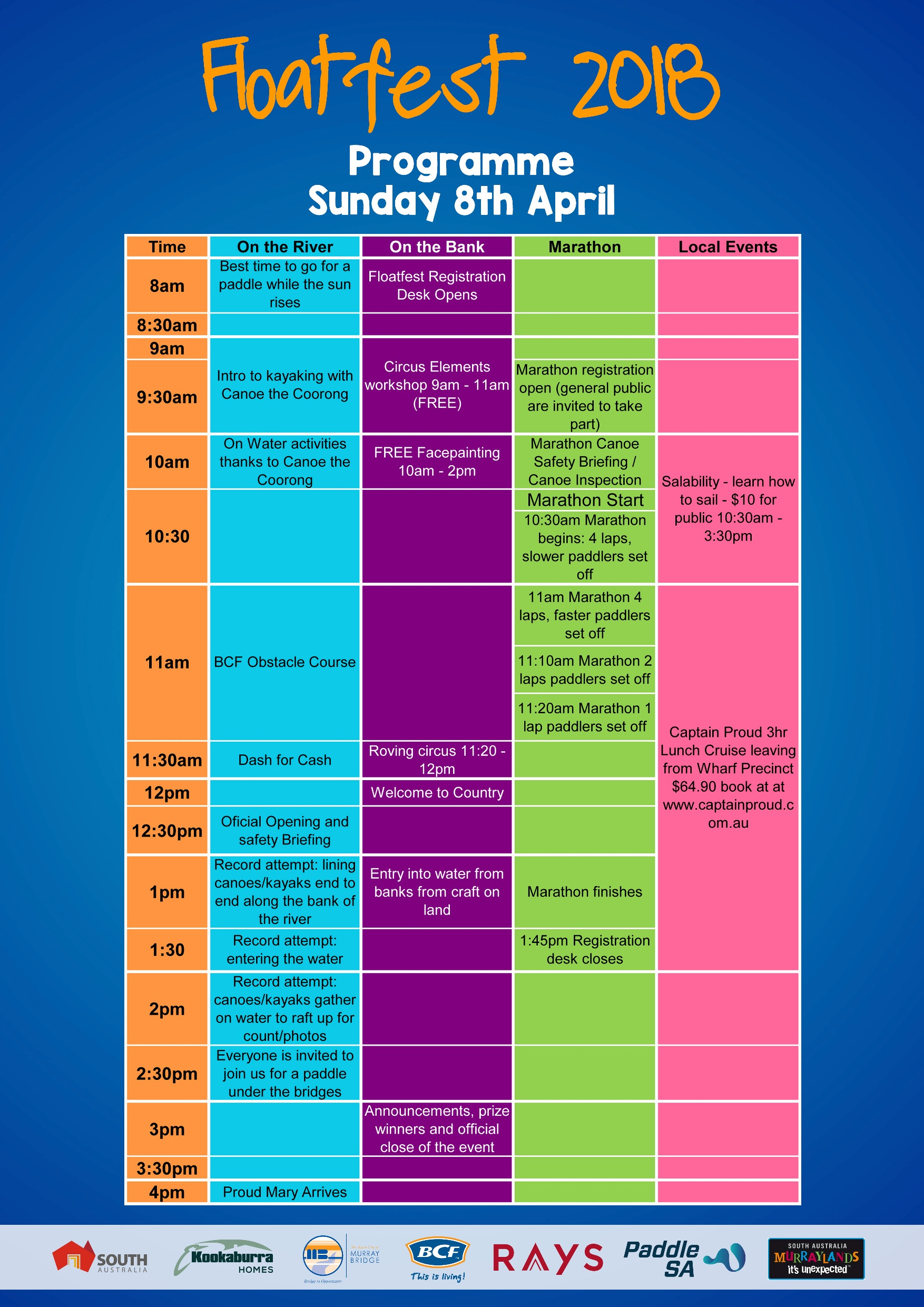Floatfest 2018 Sunday Programme