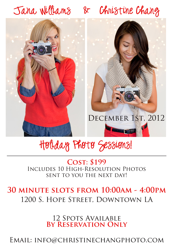 Holiday Photo Sessions December 1st, 2012