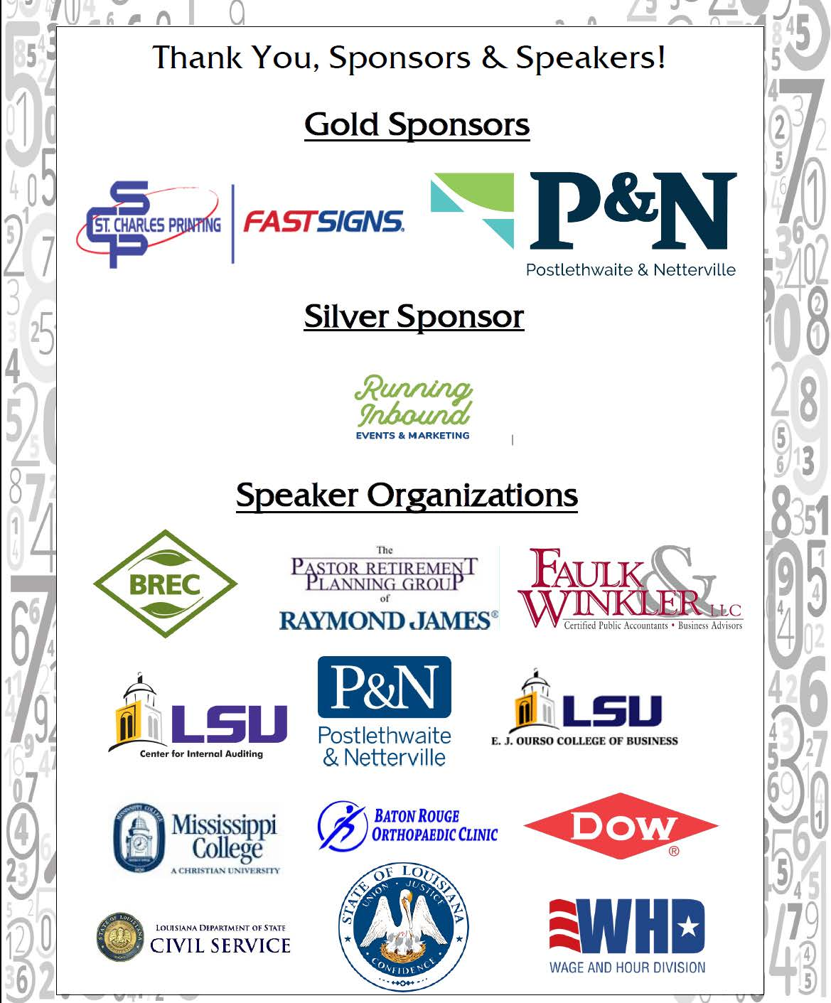 2017 Fall Sponsors & Speakers