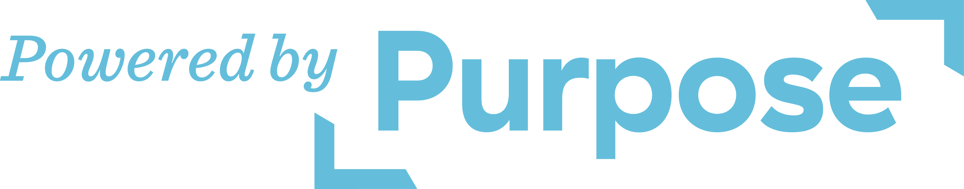 Powered by Purpose blue and white letters