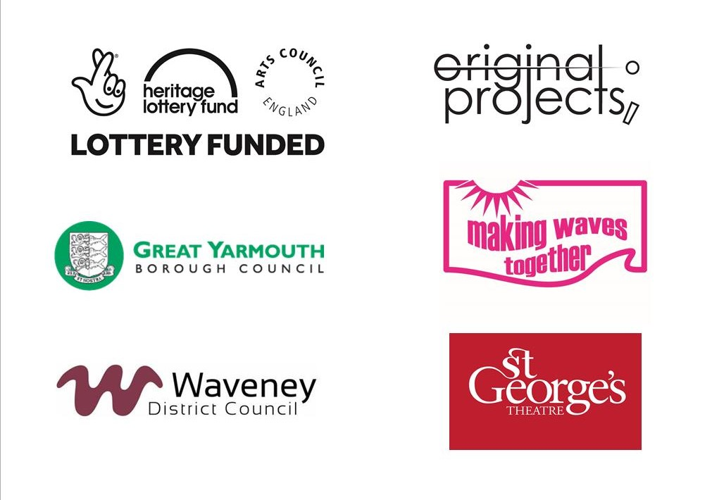 Logos for Lottery fund (heritage and Arts Council), Great Yarmouth Borough Council, Waveney District Council, Making Waves Together, Saint Georges Theatre and originalprojects