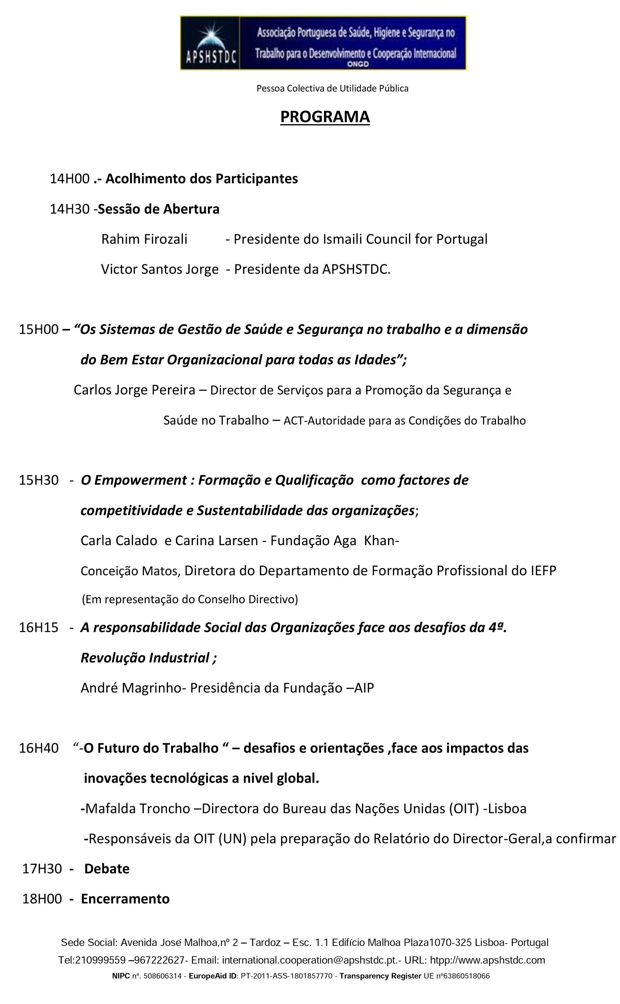 PROGRAMA - CONFERENCIA/DEBATE