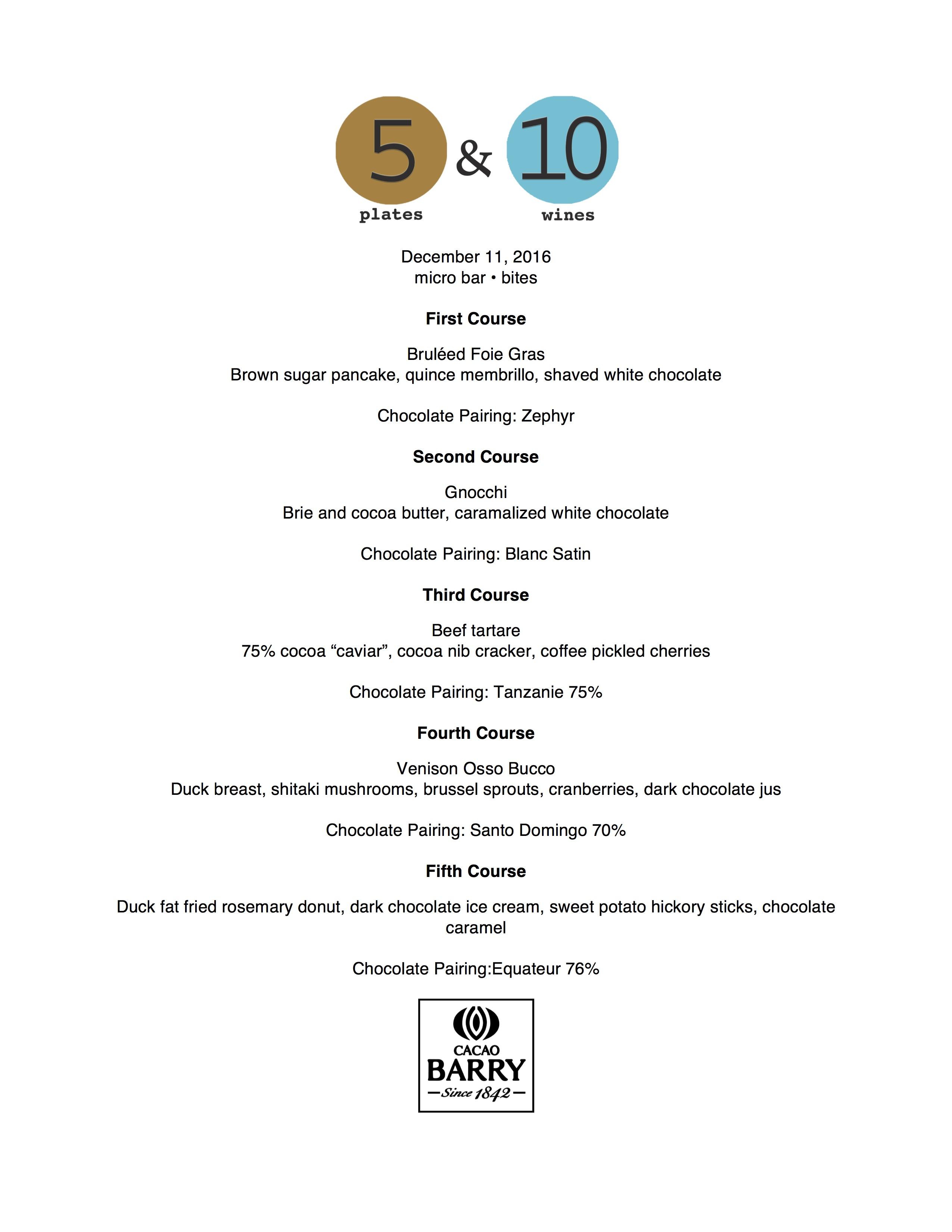 5 Plates menu for December 11, 2016