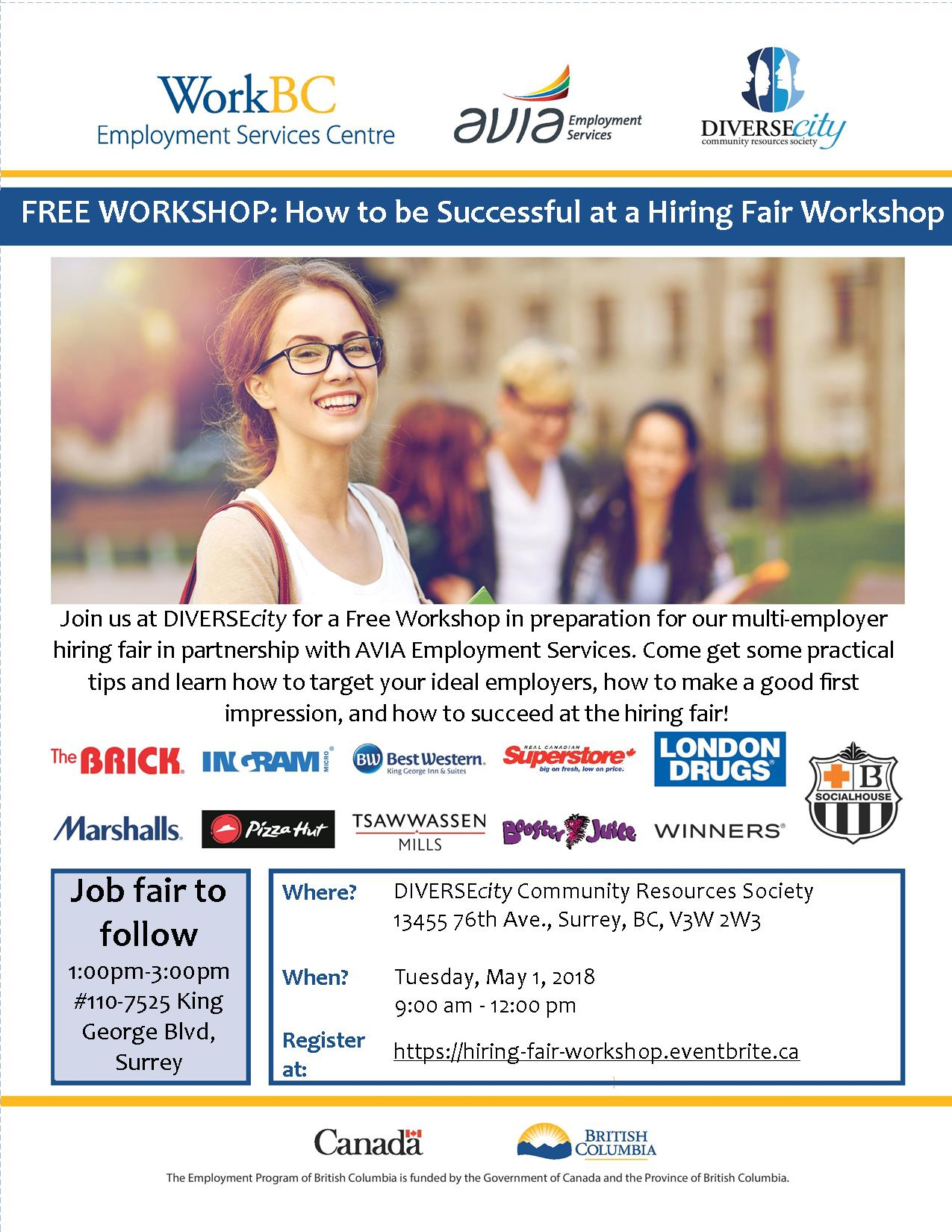 DIVERSEcity and AVIA Free Workshop: How to be Successful at a Hiring Fair Workshop