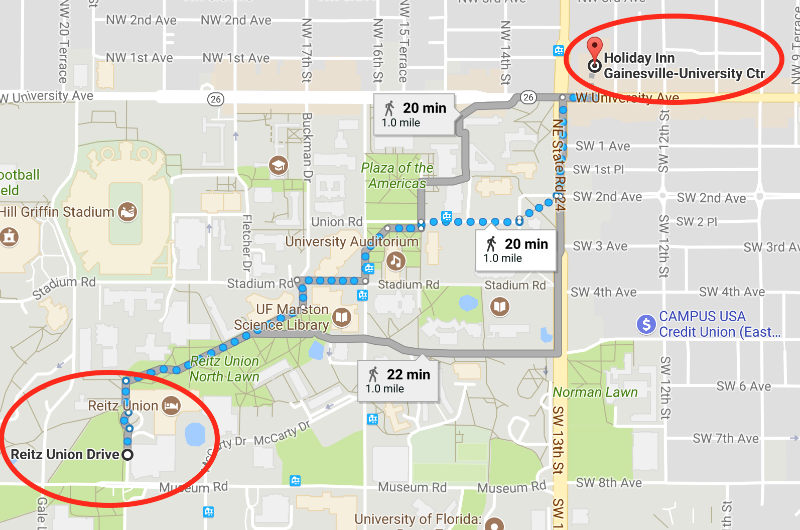 Directions from the Holiday Inn to the Reitz Union