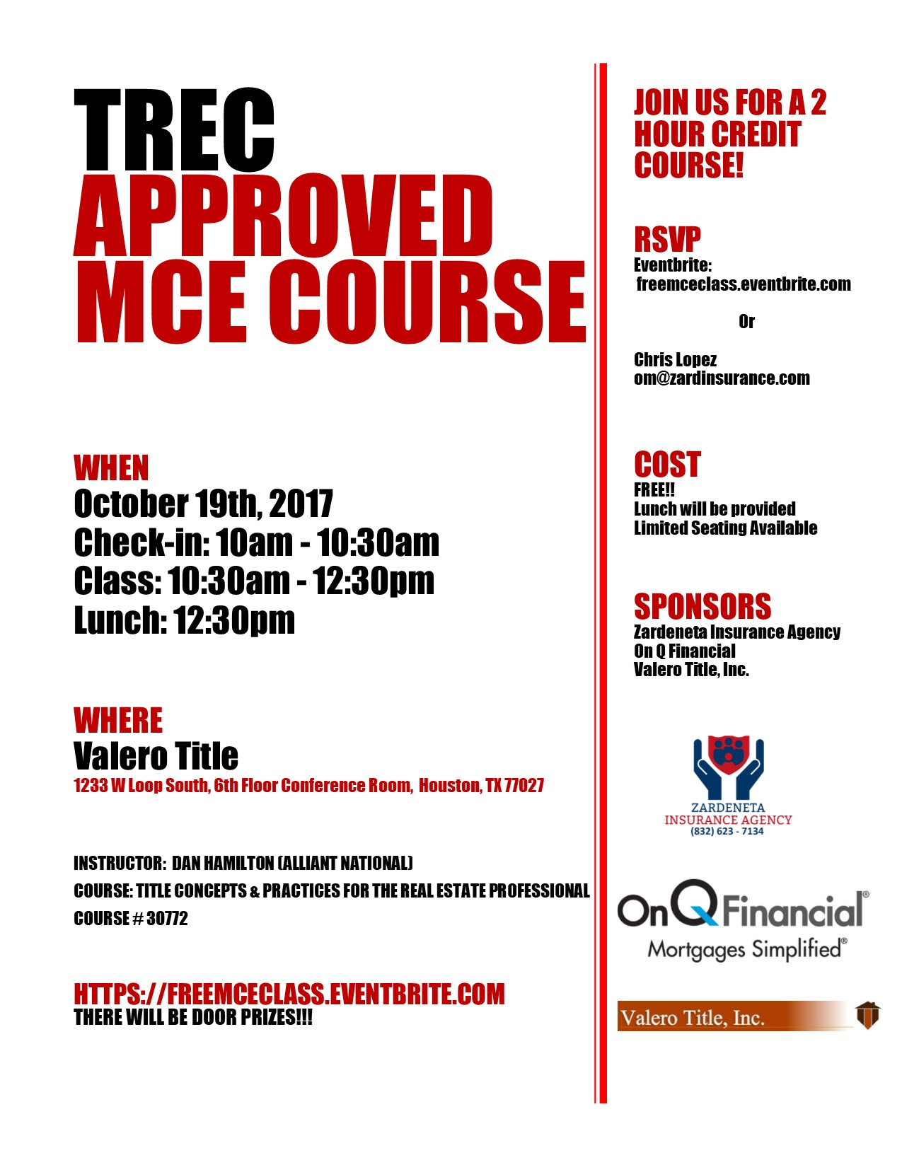 Flyer for MCE class