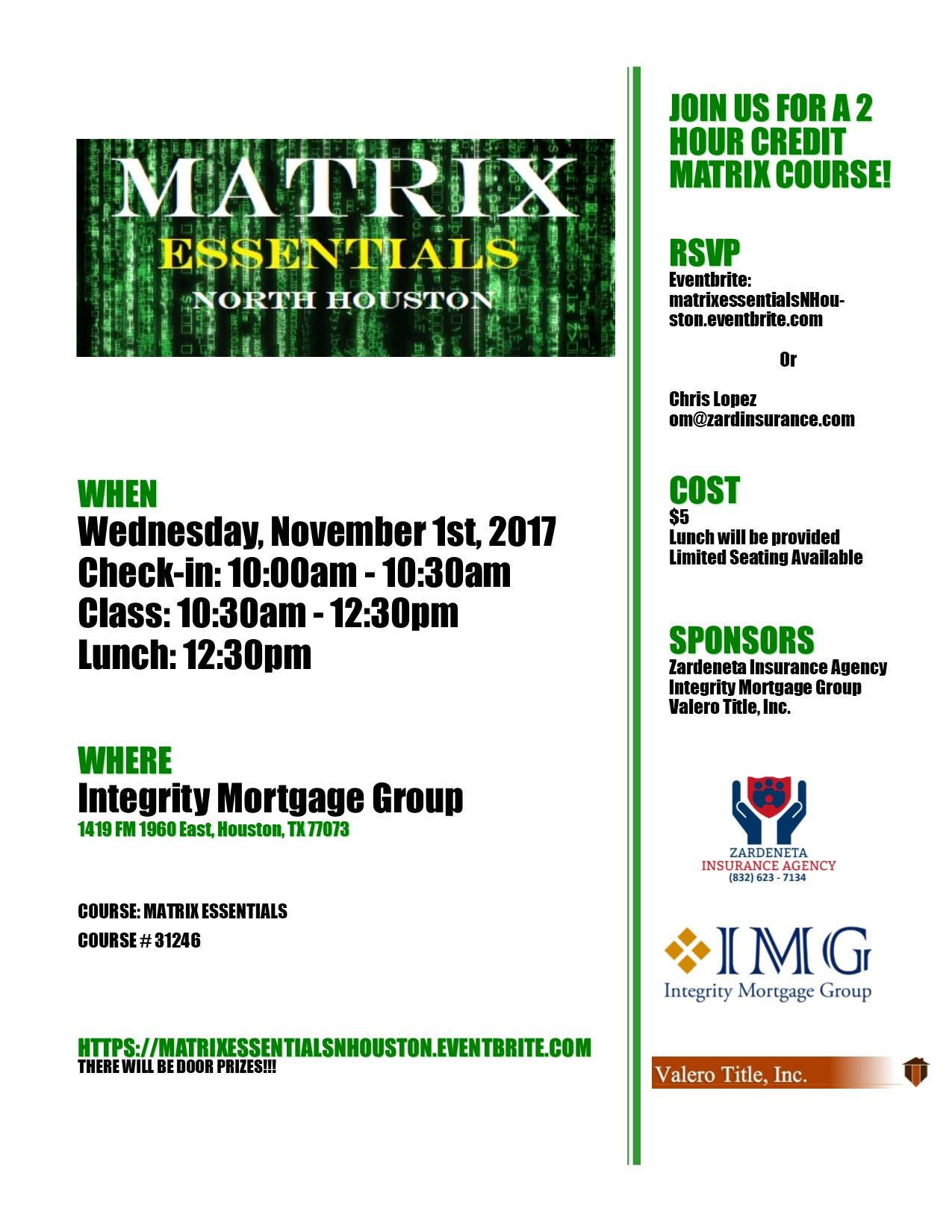 Flyer for Matrix class