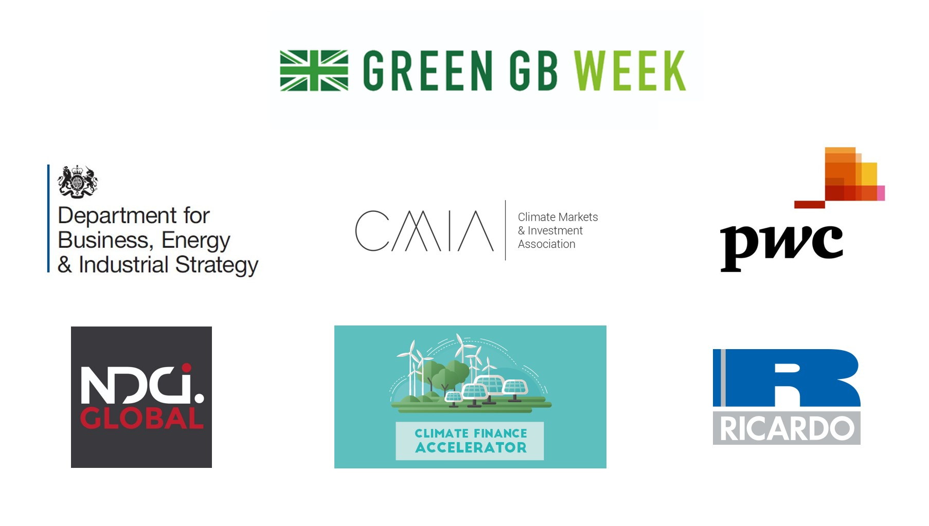 Logos of partners for the Accelerating Green Finance in Emerging Markets event