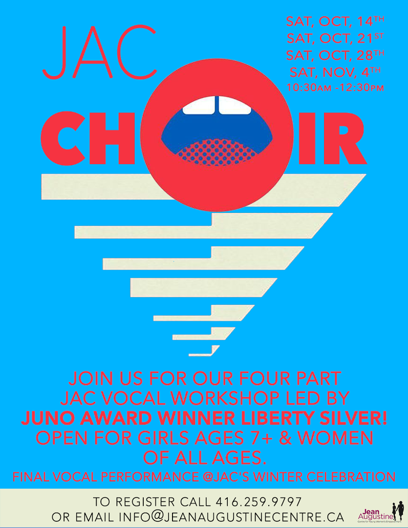 Jean Augustine Centre Choir/Vocal Workshop Poster