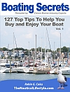 Book cover boating secrets 127 top tips to help you buy and enjoy your boat - actual photograph of boats in front of Winthrop Yacht club