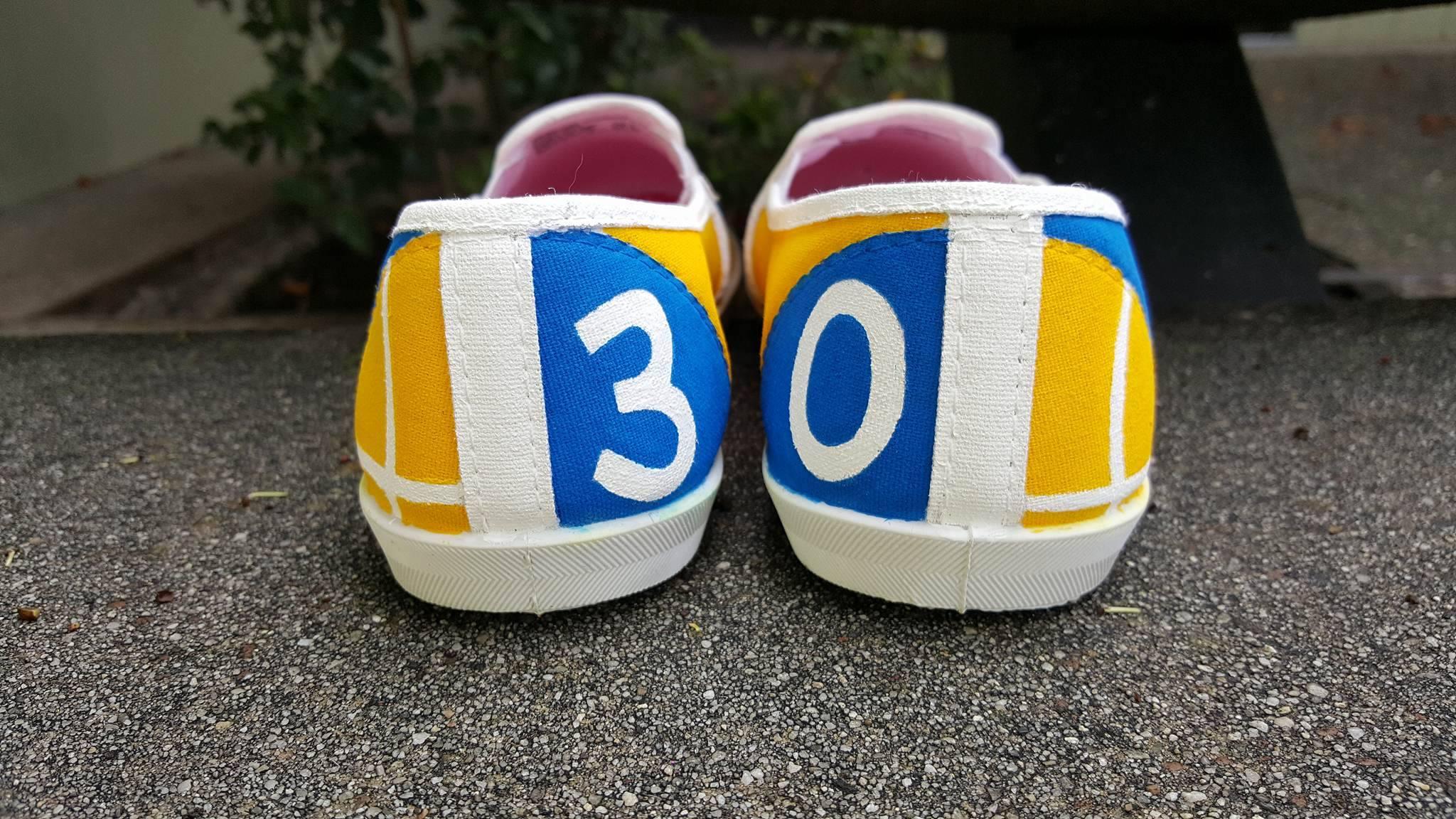 Warriors back of shoe