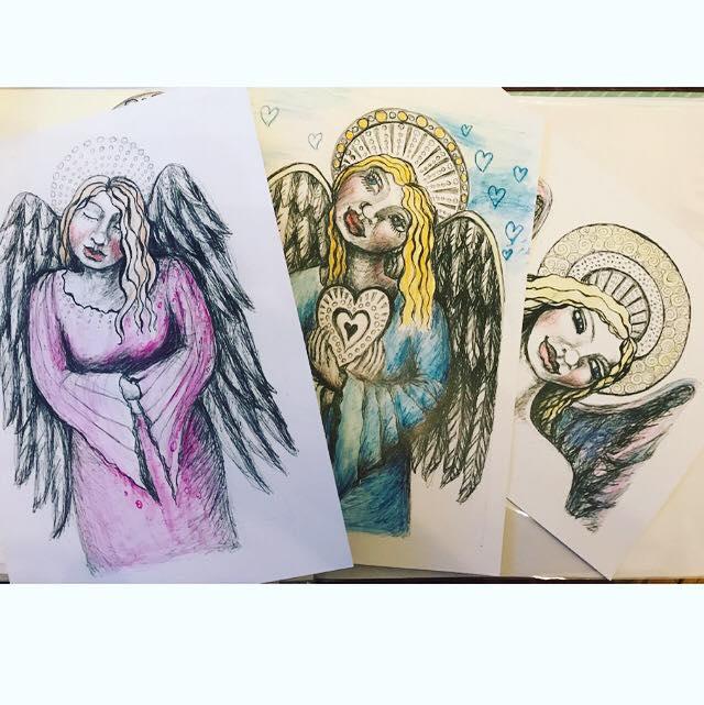 Mixed media angels