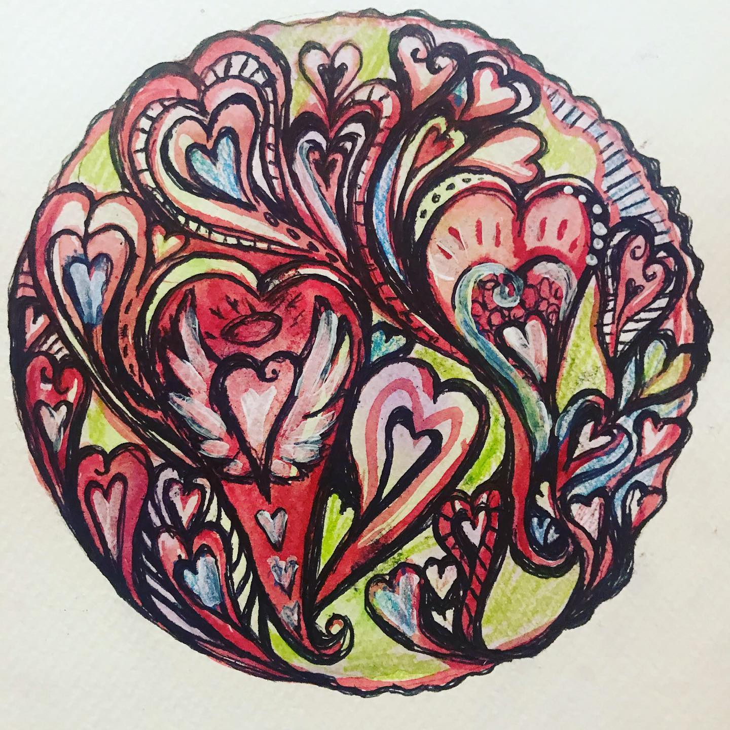 Mindful heart flow mandala painting in mixed media on A5 watercolour paper by Cheryle Bannon