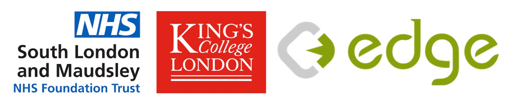 Logos for SLaM, KCL/IoPPN and EDGE Clinical