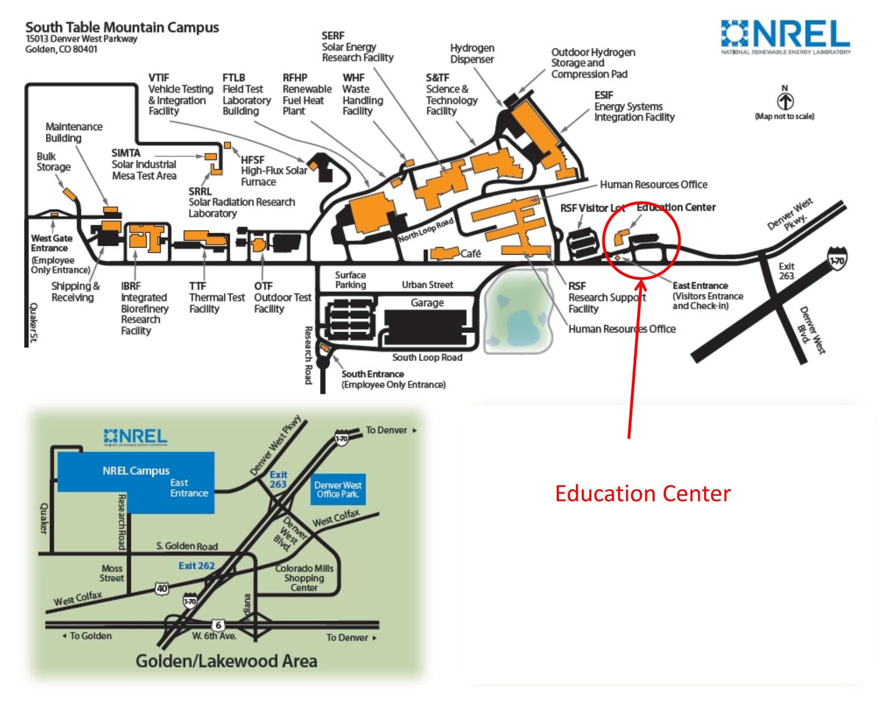 Map showing NREL Education Center
