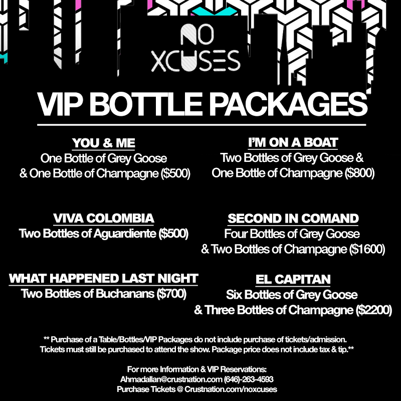 NO XCUSES BOTTLE PACKAGES