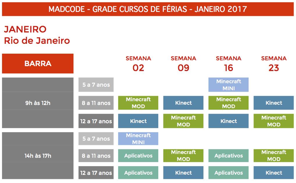 Grade Colônia Férias MadCode RJ 2017 Barra da Tijuca